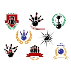 Set of colored bowling emblems and badges vector