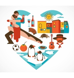 Argentina love - heart with a set of icons vector