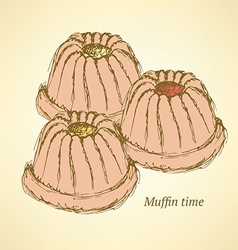 Sketch tasty muffin in vintage style vector