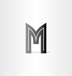 Letter m black symbol design vector