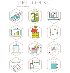 Business line icons set in flat design web vector
