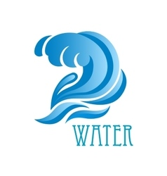 Blue wave with crest and flowing water drops vector