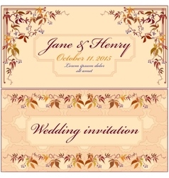 Grapevine wedding invitation vintage elegant vector