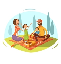 Family having picnic vector
