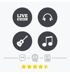 Musical elements icon music note and guitar vector