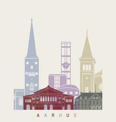 Aarhus skyline poster vector