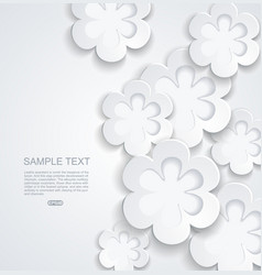 Abstract background with white sticker flowers vector