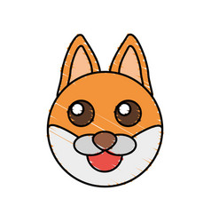 Cute fox drawing animal vector