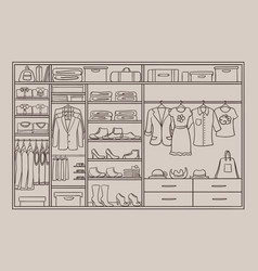 Doodle male and female wardrobe concept vector