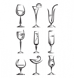 drinking glass collection vector image vector image