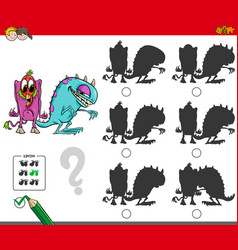 Educational shadow activity with monsters vector