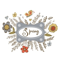 Elegant spring card with a word spring in a frame vector