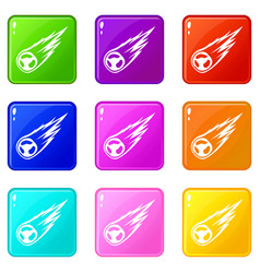 Falling meteor with long tail set 9 vector