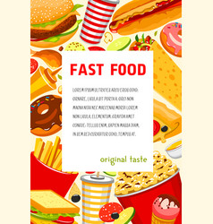 Fast food poster of snacks and meals vector