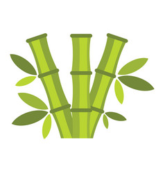 flat cartoon green bamboo icon isolated on white vector image vector image