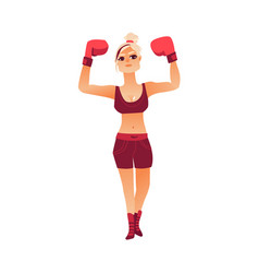 flat muscular althlete boxer woman vector image