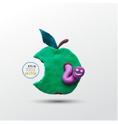 Funny plasticine worm in the apple vector