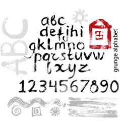 Grunge alphabet vector image vector image