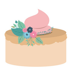 hand drawing color cake with pink buttercream and vector image vector image