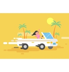 happy brunette girl drives a white vector image