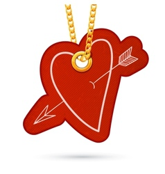 Heart with arrow label tag hanging on golden chain vector