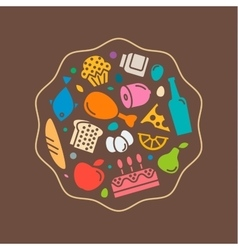 icons flat delicious food quality style logo vector image vector image