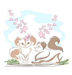 lovely little doggies in love vector image vector image