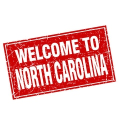 North Carolina red square grunge welcome to stamp vector image vector image