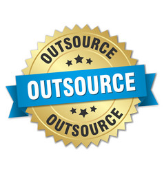 Outsource 3d gold badge with blue ribbon vector