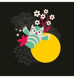 Owl with the moon banner vector image