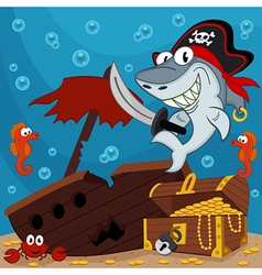 Pirate shark vector