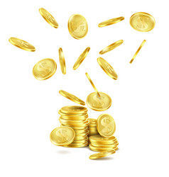 realistic falling gold coins rain of money vector image vector image