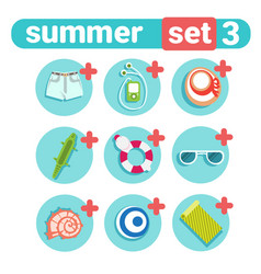 Summer holiday icon set beach vacation concept vector