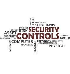 word cloud security controls vector image vector image
