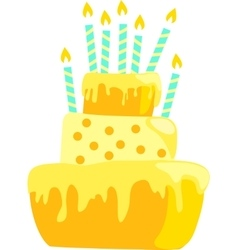 Yellow anniversary cake with candles decorations vector image