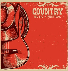 country music card with cowboy hat and guitar on vector image