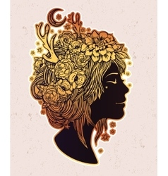 Beautiful elf fairy girl with flowers on her head vector image