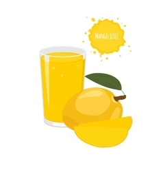 Mango juice with mango and juicy slices vector