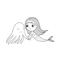 cute cartoon mermaid and octopus siren sea theme vector image