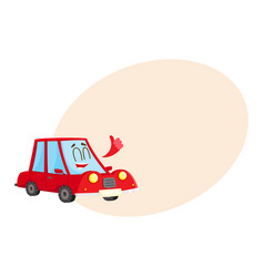 Cute and funny red car auto character showing vector