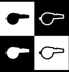 Whistle sign  black and white icons and vector