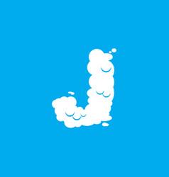 Letter j cloud font symbol white alphabet sign on vector