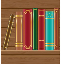 Books on wooden shelf vector