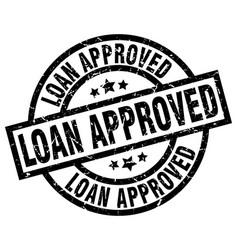 Loan approved round grunge black stamp vector