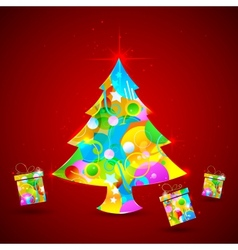 Colorful christmas tree and gift vector