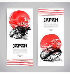 Set of japanese sushi sketch banners vector