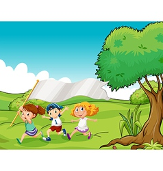 Three kids at the hilltop with an empty flag vector