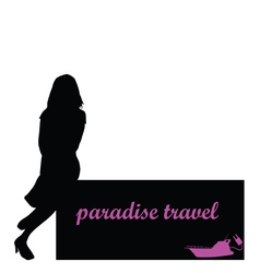 Paradise travel with girl and boat vector