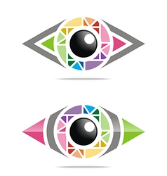 Abstract logo rainbow eye circle eyeball symbol vector