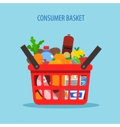 Shopping basket flat concept vector